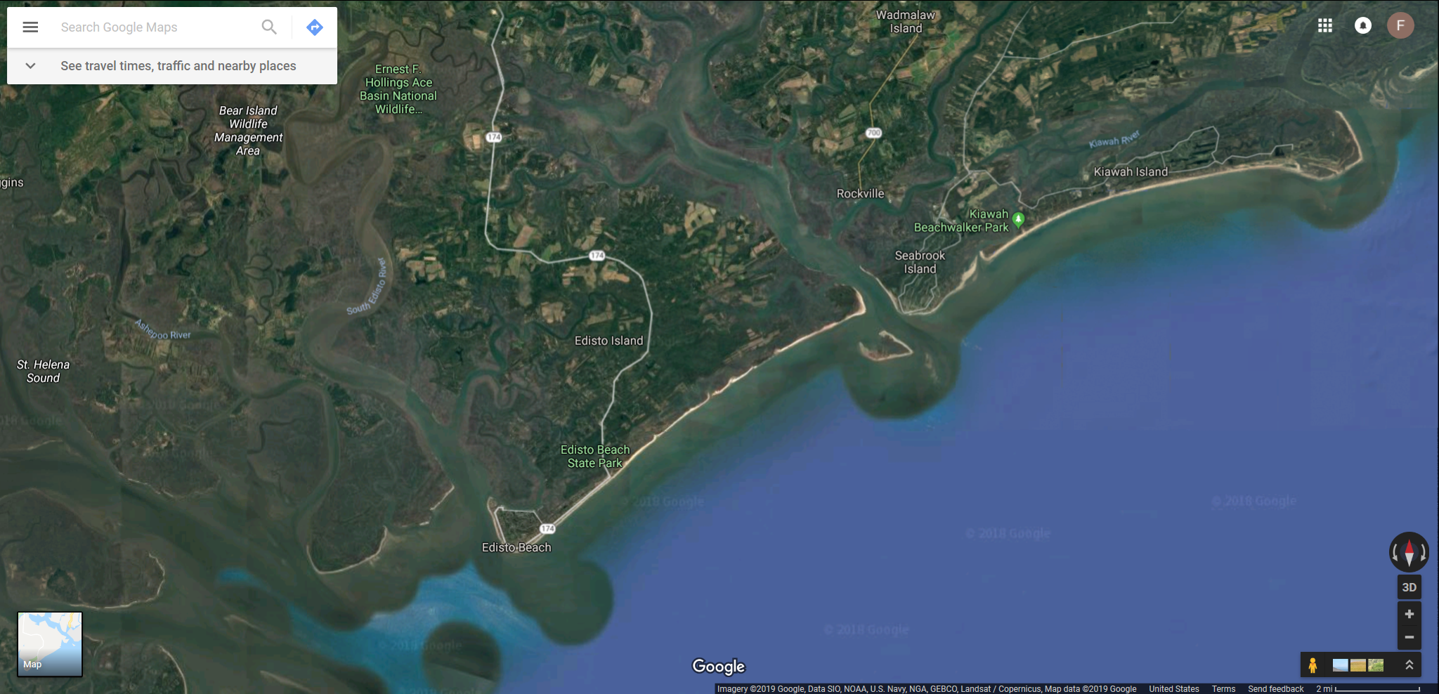 Google map Kiawah Island and Edisto Beach SC.png